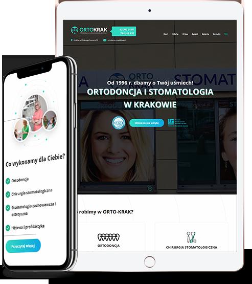 Strona gabinetu stomatologicznego na telefonie i tablecie