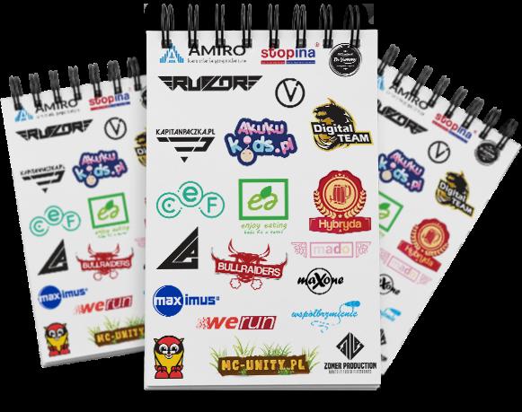 Notatnik z logotypami zrobionymi przez agencję reklamową ColorVision.pl